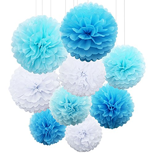 light blue pom pom decorations - 8