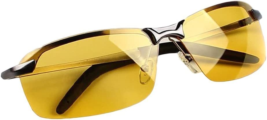ZUMUii Butterme Gafas Polarizadas de Visión Nocturna,Gafas de Conducción Nocturna con Protección UV Antirreflectante (para Conducción Segura, Lentes Transparentes y Amarillos)