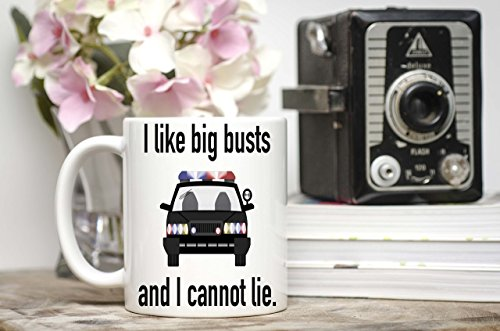 I like big busts cop car novelty coffee mug - Coffee Cup - Gift idea for Police Officer or Law enforcement Police department -