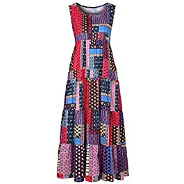 GOWOM Fashion Women Loose Sleeveless O-Neck Irregular Print Retro Casual Dress