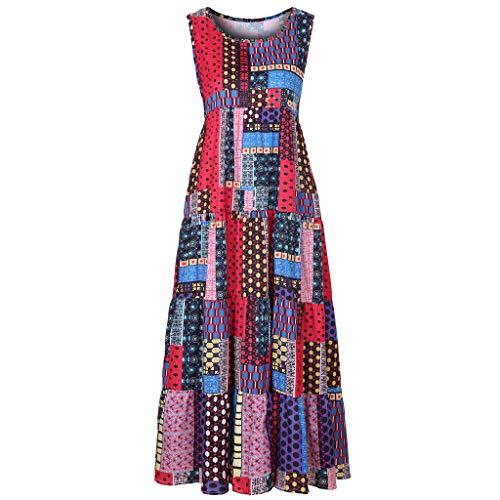 Women Bohemian Sundress Vintage Printed Ethnic Style Summer Shift Dress Holiday Beach Casual Maxi Dress