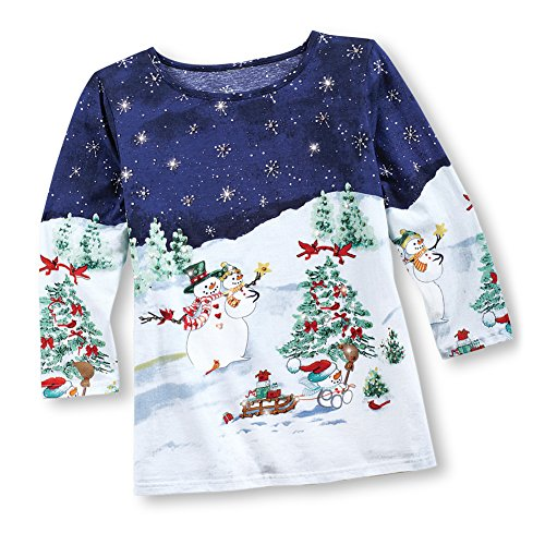 Women's Snowmen at Night Sequined Christmas Shirt