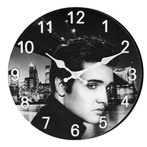 Elvis Presley Retro Music Legend Portrait Glass Clock (30cm Diameter) ...