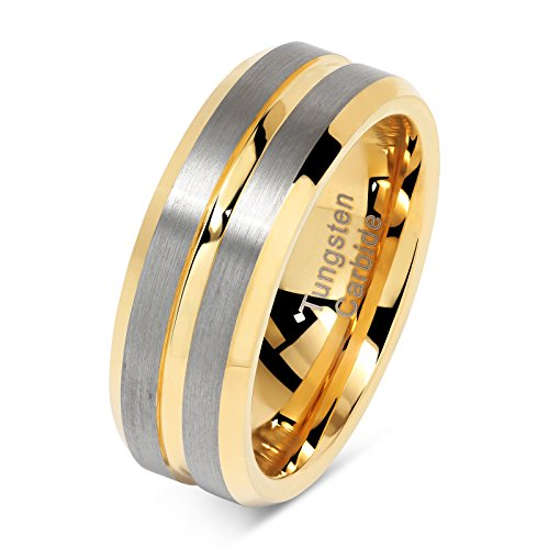 - 100S JEWELRY Tungsten Rings for Mens Two Tone Gold Wedding Bands Silver Matte Finish Size 8-15 (10)