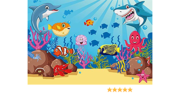CdHBH 10x12ft Gray Cartoon Smiling Shark Surfer Summer Beach Party Portrait Clothing Photo Photography Background Cloth Studio Photo Photography Background Festival Venue Party Arrangement