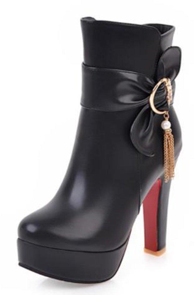 Easemax Damen Elegant Kurzschaft Schleife Quaste High Heels Stiefel Mit Absatz  40 EU|Schwarz