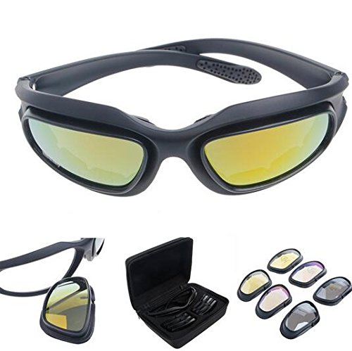 Polarized Driving Riding Lens Sun Glasses with 4 Lens for Motorcycle Bicycle Outdoor Activity Sports Hunting - Uk Round Black Sunglasses