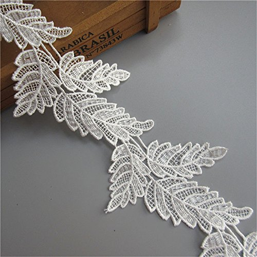 - 3 Meters Leaf Shape Lace Edge Trim Ribbon 10 cm Width Vintage Style White Trimmings Fabric Embroidered Applique Sewing Craft Wedding Bridal Dress Embellishment DIY Party Decoration Clothes Embroidery