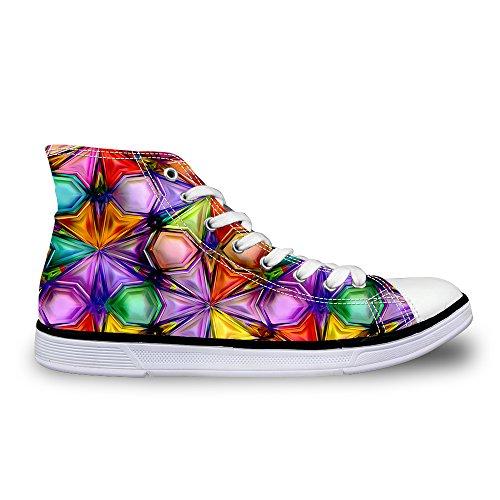 För U Designar Glitter Pläd Tillfällig High-top Dubbel Övre Snörning Mode Sneaker För Kvinnor Multi 3