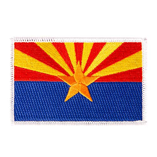 - Arizona Flag Patch Single 3.5Wx2.25H Iron On Sew Embroidered Tactical Morale Back Pack Hat Bags (Single Patch)