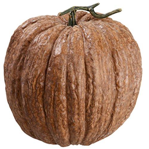 12''Hx11''W Artificial Weighted Pumpkin -Brown (pack of 2) by SilksAreForever