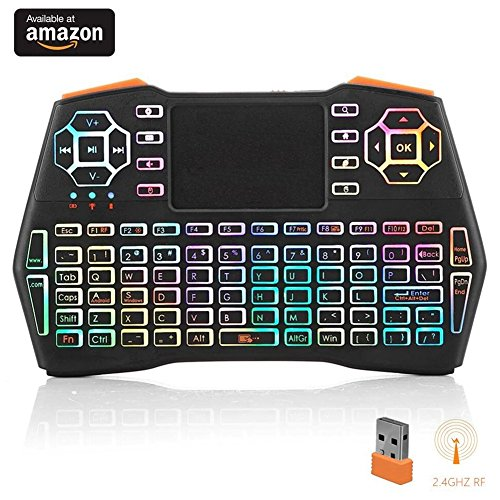 i8 Plus Running Rainbow Backlit Mini Wireless Keyboard with Touchpad Mouse, LNSLNM 2.4GHz Rechargeable Combos Handheld Remote Control for Smart TV, Laptop, PC, Projector, TV Box