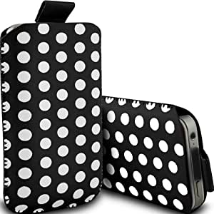 ONX3 Alcatel One Touch Fire E Leather Slip protectora Polka PU de cordón en la bolsa de la liberación rápida (Negro y Blanco)