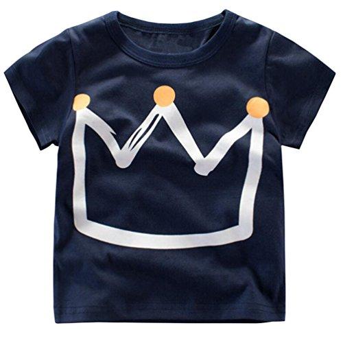 Csbks Girls Boys Short Sleeve Crew Neck Tee Kids Crown Print T-Shirt 1-6 Toddler 4T Dark blue