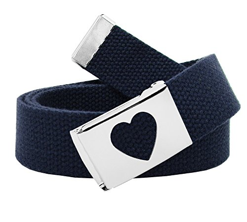 Girl's School Uniform Silver Flip Top Heart Belt Buckle with Canvas Web Belt Medium Navy