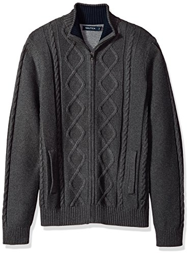 Sweater Cable Mock (Nautica Men's Long Sleeve V-Neck Cable Sweater, Charcoal Grey, Medium)
