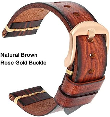 TGBZ ユニバーサル時計手作り時計バンド20ミリメートル21ミリメートル22ミリメートル23ミリメートル24ミリメートルレザー腕時計バンド (Band Color : Brown RoseGold, Band Width : 19mm)