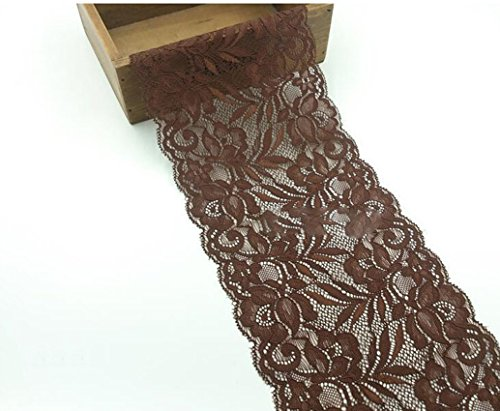 "5 Yards / lot Stretch Floral Embroidered Lace Fabric Trims Elastic Sewing Ribbon Trims 5 7/8"" Wide 16 Colors for selection (Coffe)"