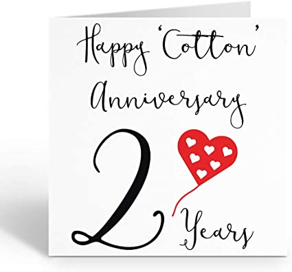 2nd Wedding Anniversary Card Cotton Anniversary Red Heart Collection Amazon Co Uk Office Products