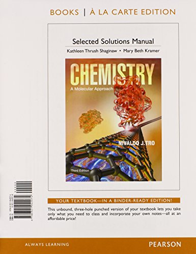 Student Solutions Manual For Chemistry: A Molecular Approach, Books A La Carte Edition