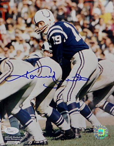 Johnny Unitas Autographed Baltimore Colts 8x10 On Field PF Photo- JSA Auth - Unitas Autograph Johnny