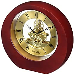 Dacasso Eclipse Burgundy Desk Clock, 8 x 7.25 x 2.50