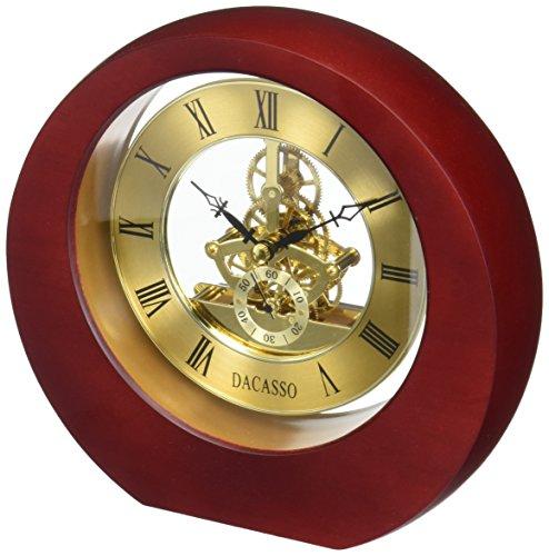 Dacasso Eclipse Burgundy Desk Clock, - Clock Table Skeleton