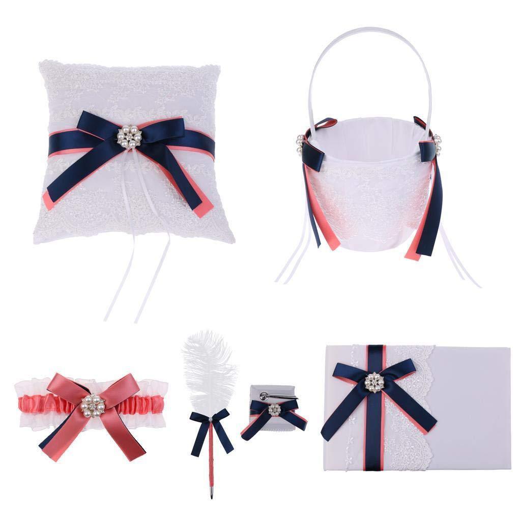 Agordo 5pcs Wedding Party Bow Flower Girl Basket Ring Pillow Guest Book Pen Garter