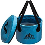 collapsible water bucket - Collapsible Bucket Portable Water Container Bucket Compact with Lid , for Camping,Travel , hiking, fishing ,boatingand and Gardening 2.4 Gallon (Blue)