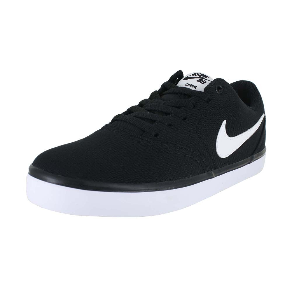 NIKE Men's SB Check Solarsoft Canvas Skateboarding Shoe Black/White 12