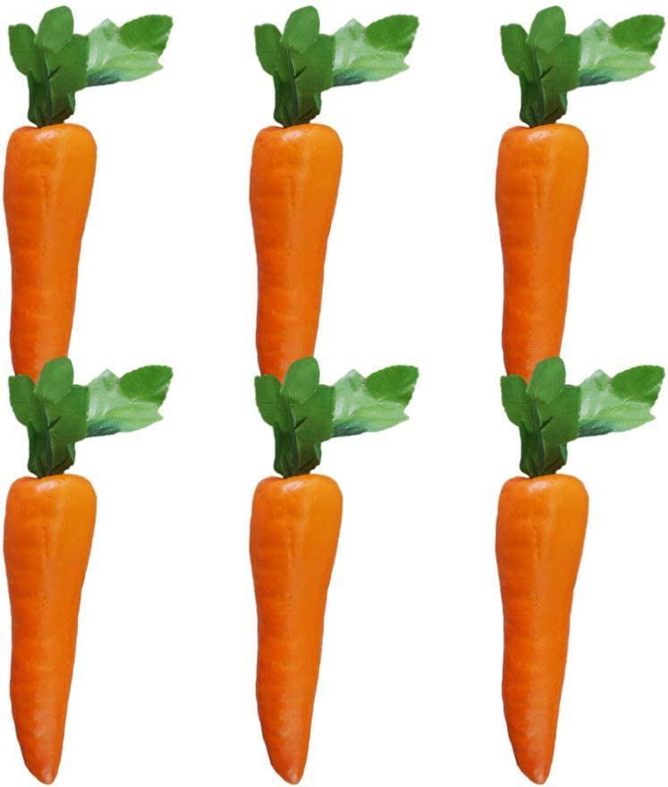 EXCEART Simulation Fake Carrots Easter Party Decorations Artificial Vegetables Easter Party Home Kitchen Decor 6PCS