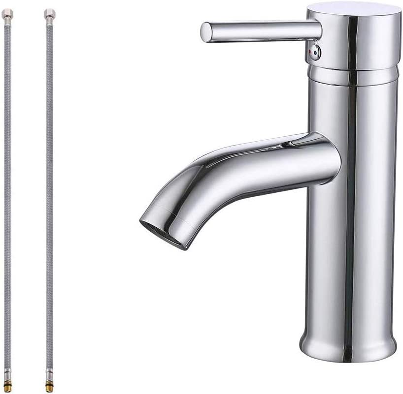 Kes Cupc Nsf Certified Brass Modern Bathroom Sink Faucet Single Handle Wash Basin Faucet Lavatory Tap Lead Free Brass Polished Chrome L3100alf Ch