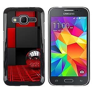 QCASE / Samsung Galaxy Core Prime SM-G360 / diseño interior negro rojo bling de bola de plata / Delgado Negro Plástico caso cubierta Shell Armor Funda Case Cover