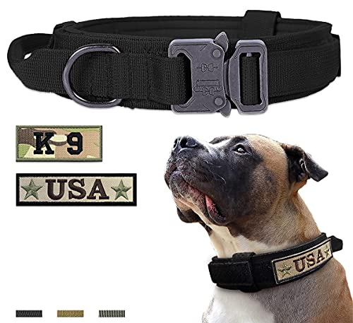 Tactical Dog Collar for Medium and Large Dogs,Adjustable Military Training Collar with Handle and Heavy Metal Buckle, Nylon K9 Collar