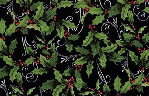 Hoffman 'Festive Flora' by Punch Studio Holly and Swirls on Black Christmas Cotton Fabric 44-45