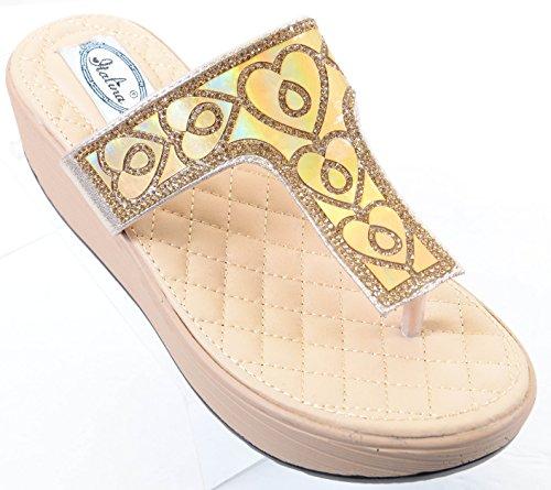 Vegan Women's Flip Sandals Funky Gold Platform Fourever Flop Thong Wedge Shimmering gUqzFZ