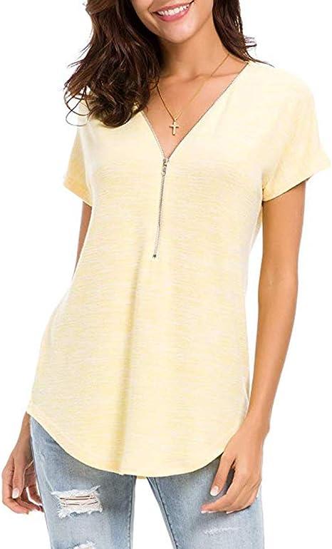 Sidiou Group Camiseta Casual de Mujer Blusas de Manga Corta Tops de Moda Camiseta de Verano Top con Cuello en V para Mujer