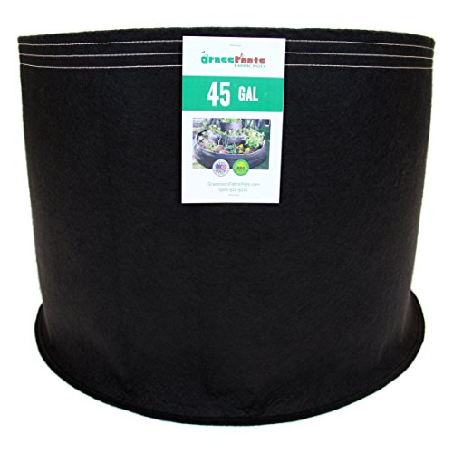 (10 Pack) 45 Gallon Black Grassroots Fabric Pot - Grow Pot and Aeration Container by Grassroots Fabric Pots