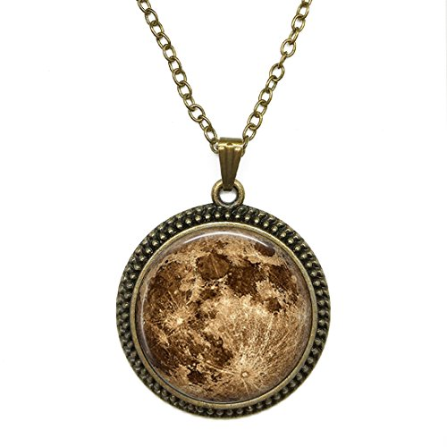 (JEANCZ Antique Bronze Finish With Cable Chain Harvest Lunar Moonvintage Style Pendant Necklace Personalized Necklace)