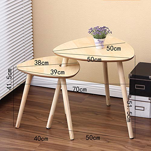 HPLL Laptop Table A Set of 2 Wooden Coffee Tables with Modern Nesting tableside Tables for Living Room (White) (Color : Wood, Size : 505051.5cm+383941.5cm)