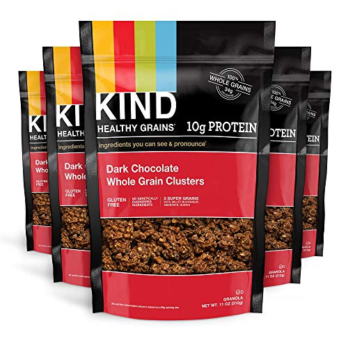 KIND Healthy Grains Clusters, Dark Chocolate Granola, Gluten Free, 10g Protein, 11 Ounce Bags, 6 Count