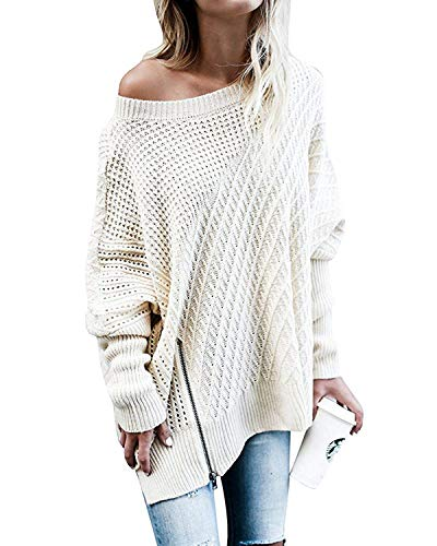 FIRENGOLI Womens Sweaters Oversized Batwing Pullover Sweater Loose Off The Shoulder Knit Jumper