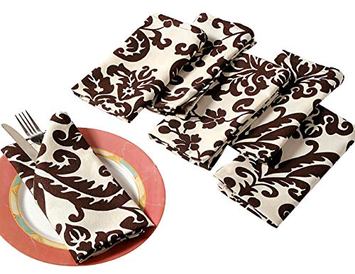 """ShalinIndia Cotton Dinner Napkins - 20"""" x 20"""" - Set of 6 Premium Table Linens for the Dining Room - Chocolate and Cream Damask"""