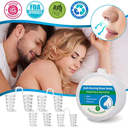 Anti Snoring Nose Vents, Anti Snoring Devices, Nasal Dilators for Snoring, Nose Vents Snore Stopper Stop Snoring Solution Sleep Aid for Comfortable Natural Sleep Breathing Snore Relief Men Women