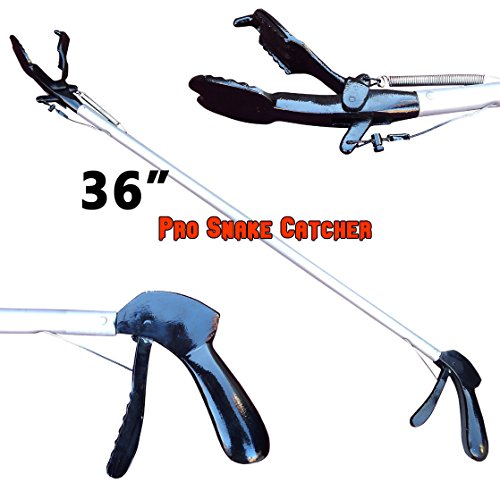 36 Inches Pro SNAKE TONGS Reptile Grabber Rattle Snake Catcher WIDE JAW Handling (Loaded Snakes)