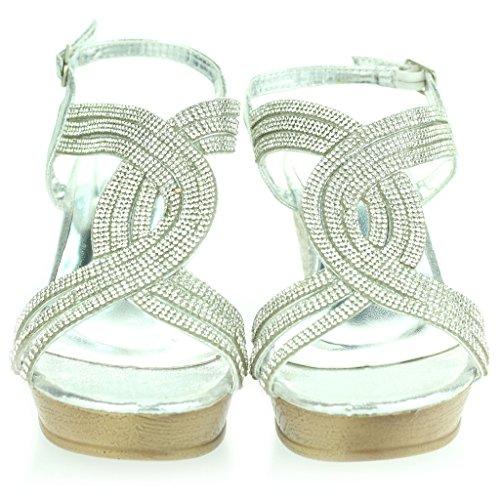 Mujer Señoras Diamante De Imitación Detalle Punta Abierta Slingback Noche Boda Fiesta Paseo Tacón de Cuña Sandalias Zapatos Tamaño Plata