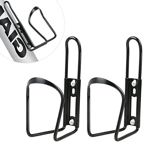 2 Pack Water Bottle Holder for Bike - Lightweight Alloy Aluminum Bicycle Water Bottle Cages - Black Bike Cages Brackets for MTB Bike, Road Bike Come with 4 Standard Size Screws - Easy to Install (Aluminum Bike Water Bottle Holder)