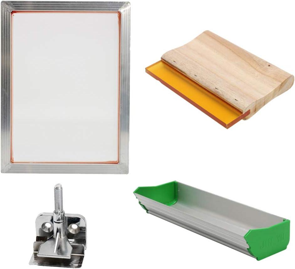 Shiwaki Kit De Impresión De Pantalla Marco De Aluminio + Abrazadera De Bisagra + Recubrimiento De Emulsión + Herramientas De Impresión De Pantalla De Rasqueta