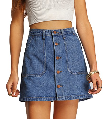 Verdusa Women's Button Front Denim A-Line Short Skirt - Blue (Denim Jean Skirt)