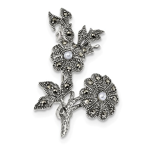 Marcasite And Pearl Pin (925 Sterling Silver Antiqued Marcasite and Acrylic Pearl Flowers Pin for Women)
